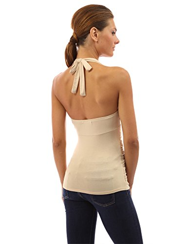 PattyBoutik Donne lati increspato Halter top Beige