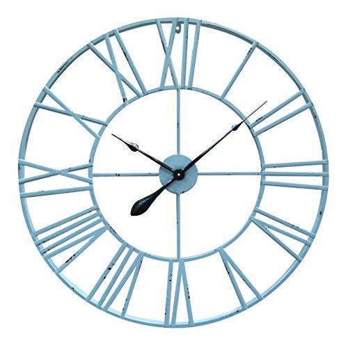 Antic by Casa Chic - Gran Reloj de Pared Metálico con Mecanismo Quartz - 80 cm Diámetro - Números Romános - Acero - Turquesa