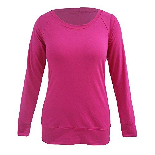 PU&PU Donna Manica Lunga Camicetta blouse Tinta Unita Giro Collo Maglietta Cotone ROSERED-M