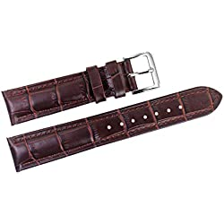 19mm Brown Italian Distressed Leather Replacement Watch Straps/Bands Grosgrain Padded with Pin Buckle