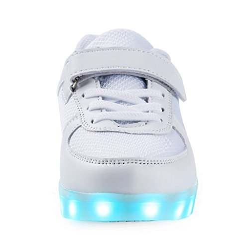 SAGUARO® Jungen Mädchen Turnschuhe USB Lade Flashing Schuhe Kinder LED leuchtende Schuhe mit farbigen Schnürsenkel Weiß-1