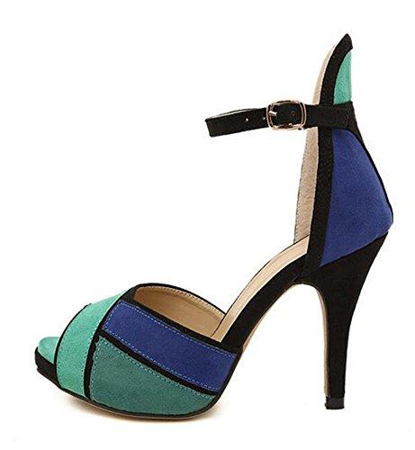 Wealsex Escarpins Sandales Suédé Talon Moyen Aiguille Cheville Bout Ouvert Boucle Couleurs Mélangées Chaussure Talon Sexy Ete Femmes Bleu