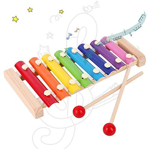 MOGOI Xilofono per Bambini, Xilofono in Legno con 8 Colori e tonalità, Strumenti Musicali per Bambini