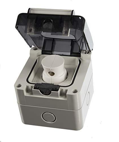 Aufputz oder Unterputz Schuko Feuchtraum Steckdose IP66 Hergestellt in der EU mit passende Stecker (Aufputz) - 13a-stecker