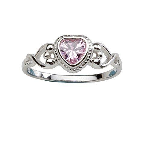 Sterling Silber Baby Ring und Oktober Geburtsstein Ring mit rosa CZ (Größe 1, 2, 4, 5) (5) Sterling Silber Baby-ringe Größe 4