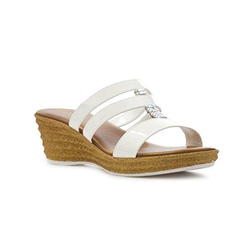 Lotus Womens White Patent Wedge Mule Sandal - Size 5 UK -...