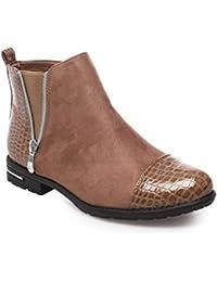628d1b4710ae La Modeuse - Boots bi-matière en Simili Daim et empiècements Vernis façon  Croco au