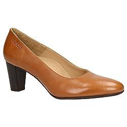 Zweigut® smuck #214 Achtung GRÖßENWANDEL Damen Leder Pumps Nappaleder Sommer Business Schuhe Komfort Laufsohle, Schuhgröße:39, Farbe:Cognac