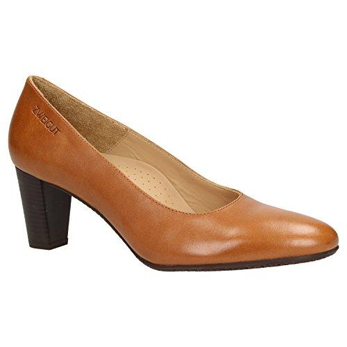 Zweigut Hamburg- smuck #214 Damen Leder Pumps Nappaleder Sommer Business Schuhe Komfort Laufsohle, Schuhgröße:37, Farbe:Cognac