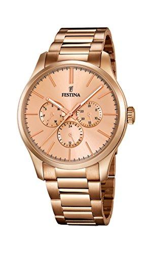 Festina - Reloj de cuarzo para mujer, correa de acero inoxidable chapado color oro rosa