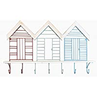 Beach Hut Design Coloured Metal and Driftwood Style Wall Shelf with 7 Hooks