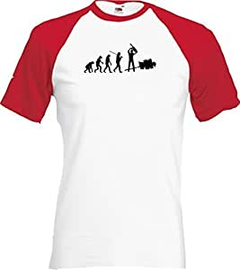 ShirtInStyle Raglan Shirt Evolution Waldarbeiter Holzfäller diverse Farben, Farbe weiss-rot, Größe S