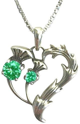 Halskette mit Herz-Anhänger, 925er-Sterlingsilber, mit wunderschönem Distel-Design an einer 45,7-cm-langen italienischen Boxerkette, Geburtsstein für Mai, mit Geschenkverpackung -