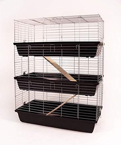 Dreistöckiger Kaninchenkäfig bzw. Kaninchenstall Indoor von Zoo-Shop, 100 cm Höhe