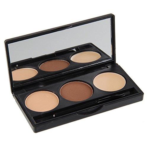 Vococal® 3 Couleurs Sourcils Poudre Eye Brow Palette Maquillage Cosmétiques Kit Avec Brosse et Miroir