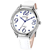 Comtex-Reloj mujer de cuarzo,correa de piel color blanco
