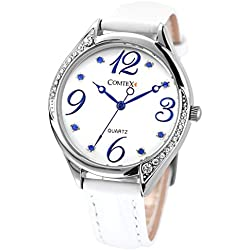 Comtex Women's Wrist Watch with White Dial Analogue Display Ladies Watches Water Resistant