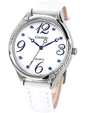 Comtex Damen-Armbanduhr Weiß Leder Armbanduhr Analog Quarz Wasserdicht (