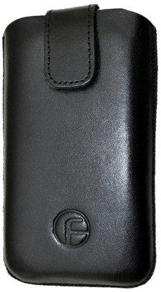 Favory Echt Ledertasche (Lasche mit Rückzugfunktion und Klettverschluss) für Huawei Sonic U8650 in schwarz
