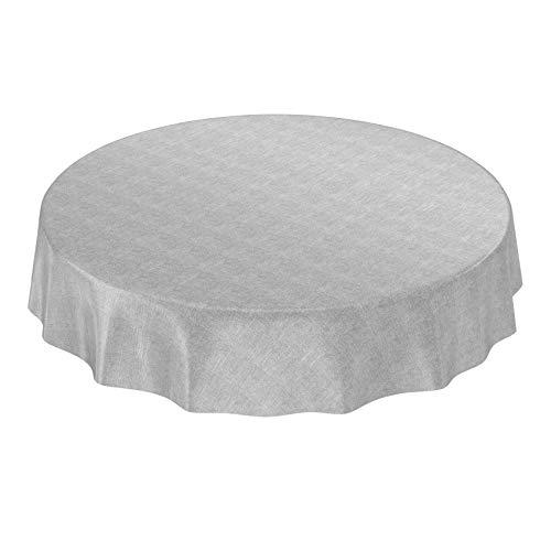 ANRO Wachstuchtischdecke Wachstuch Wachstischdecke Tischdecke Wachstuchdecke Grau Leinenoptik Rund 140cm eingefasst