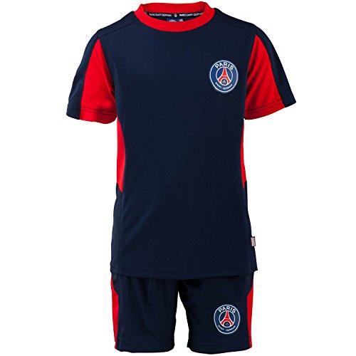 Paris saint germain - completo della collezione ufficiale psg composto da maglietta e pantaloncini, campionato di calcio lega 1, da bambino / ragazzo, blu, 4 anni