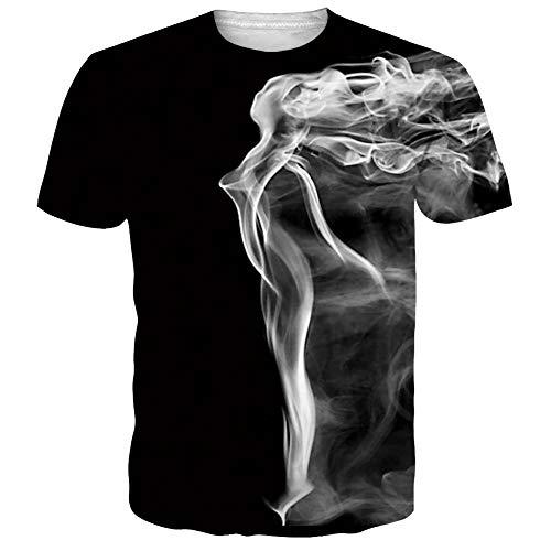 Funnycokid Teenager Mädchen Tees Sommer 3D Pattern Kurzarm Lässige Grafik Unisex T-Shirts Schwarz - Lässiges Herren T-shirt