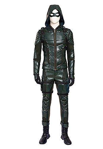 QianQian Herren PU-Leder Kampf Anzug Halloween Cosplay Kostüm voller Satz (Herren-L, (Arrow Cosplay Green Kostüm)