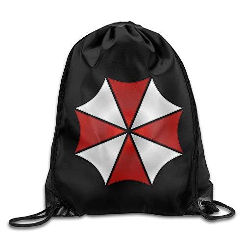 FTKLSS Lightweight Foldable Large Capacity MGTER66 Backpack Gymsack Sport Bag Resident Evil Umbrella Logo White