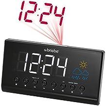 Briebe Meteo - Radio reloj despertador digital con proyector, estación meteorológica, temperatura, pantalla 15.5