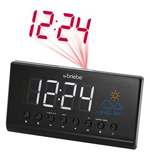 Briebe Meteo - Radio reloj despertador digital con proyector, estación meteorológica, temperatura, pantalla 15.5 cm