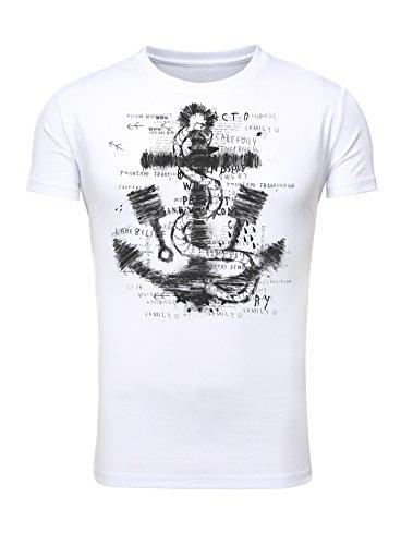 Legendary Items Herren T-Shirt Printshirt Slim Fit Anker Zitate Anchor Küste Weiß