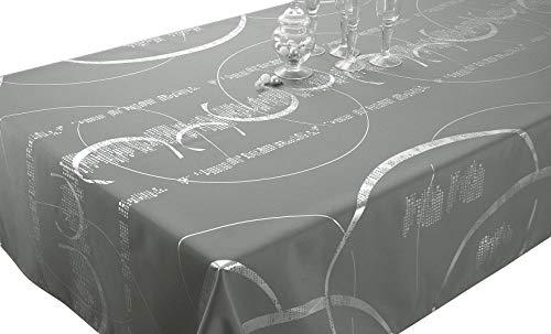 Le linge de Jules Nappe Shiny - Entretien Facile Gris Clair - Taille : Carrée 180x180 cm