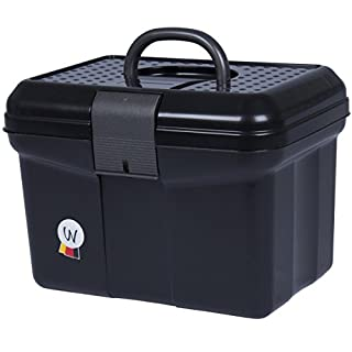 Cleaning box, cleaning case with handle, lockable, adjustable partition, grooming box, black
