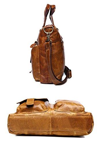 DRF Borsa a Spalla in Pelle Borsa a mano Vintage Stile 40*31*8cm#BG262 Marrone