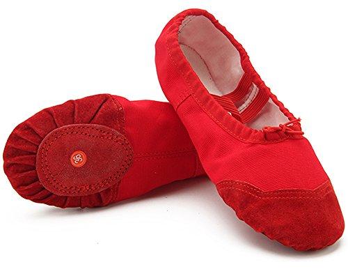 Dreamone Balletschläppchen Ballettschuhe Tanzen Schläppchen Gymnastik-Schuhe Damen Mädchen, Rot, 33 EU