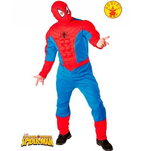 Costume RUBIES da Spiderman Classic muscoloso TAGLIA UNICA per adulto travestimento carnevale halloween cosplay licenza ufficiale tuta e maschera supereroe costume supereroi batman robin wonder woman superman lanterna verde spiderman uomo ragno adulto