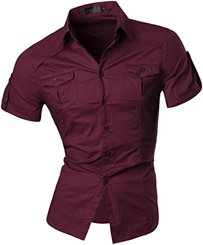 Jeansian uomo camicie manica corta moda men shirts slim fit casual fashion 8360 winered xl
