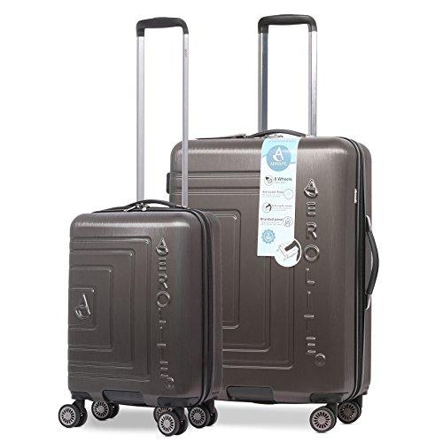 Aerolite Leichtgewicht ABS Hartschale 8 Rollen Trolley Koffer Reisekoffer Gepäck Kofferset, Genehmigt für Ryanair, easyJet, Lufthansa, und viele mehr, 2 teiliges Set, anthrazit