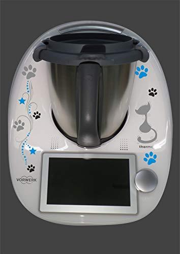 Aufkleber passend für Thermomix TM 6 Katze Pfoten türkis - Küchenmaschine Türkis