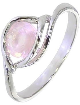Ring mit Rosenquarz 22-09 - Schmuck silbern-rhodiniert aus Rosenquarz - Alle Größen und verschiedene Steine -...