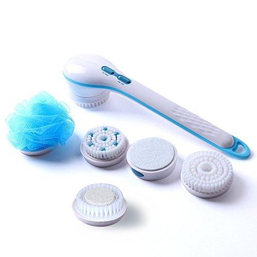 5 in 1 Spa Bürste Wasserdichte Elektrische Gesichts- & Körperreinigungsbürste Kit, Exfoliator und Massager Bidirektionale Rotation mit langem Griff -