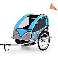 Festnight 40kg Cochecito y Remolque de Bicicleta para Niños 2-en-1,Azul Gris