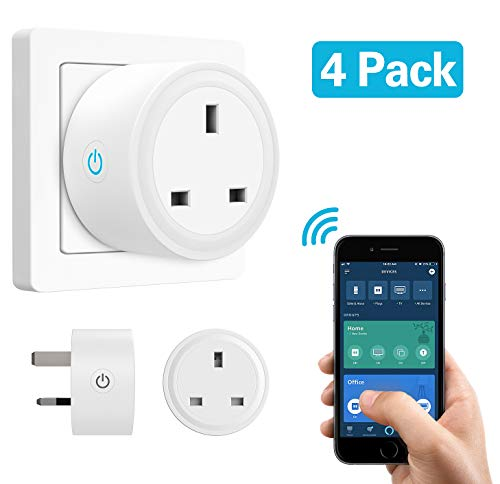 MoKo Smart Plug, 4 Pack No Hub WiFi Socket Compatible with Alexa Echo DOT, Echo Spot, Google Home, IFTTT, Smart Life Wireless Remote Control - White