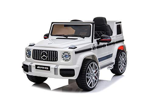 Mercedes Benz G63 AMG Jeep SUV Geländewagen Kinderfahrzeug Kinderauto Elektroauto Fernbedienung MP3 Anschluss in Weiß