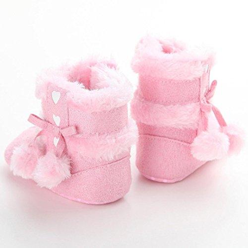 BZLine - Bulbe Pileux Chaussure en Coton - Semelle à pois - Bébé (12~18 Mois, Pink) Pink