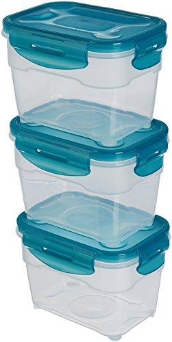 AmazonBasics Airtight Food Storage Containers Set, 3 x 1.0 Liter