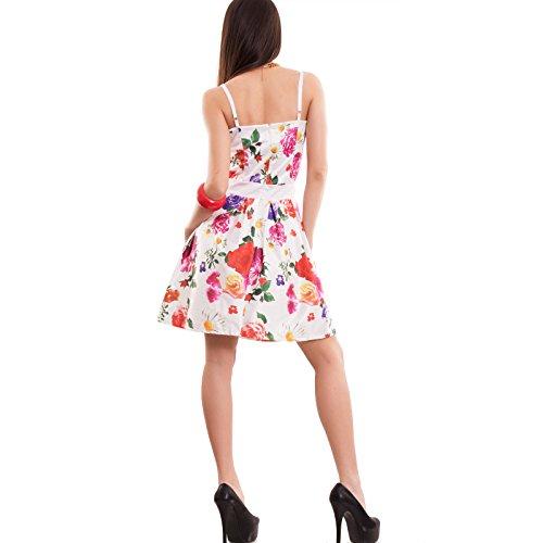 Toocool - Vestito donna miniabito gonna ruota pin up FIORI anni 50 abito nuovo CC-1425 base bianco