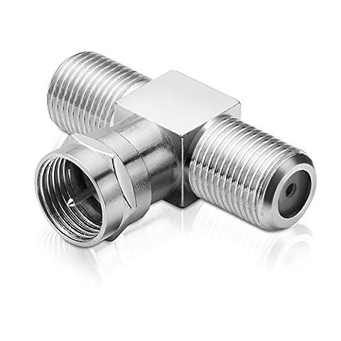 Sat-Adapter T-Stück Verteiler 1-x F-Stecker / 2-x F-Kupplung (Sat Anlage Verteiler)