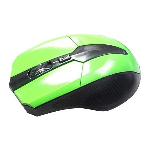 FafSgwq 2.4GHz 4 Key Adjustable 1600DPI Optical Wireless Mouse Gaming Mice for PC Laptop Optical Sensor Adjustable Gaming Mouse FPS Mouse Green Optical Power Sensor