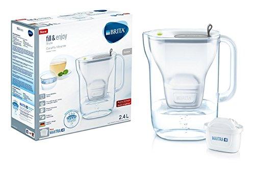 BRITA Style - Caraffa filtrante per acqua, capacità 2.4 L, bianca e grigia, 1 filtro MAXTRA+ incluso